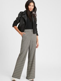 Petite High-Rise Wide-Leg Pant with Elastic Sides