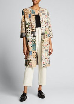 Button Card Shoppe Printed Button-Embellished Duster Coat