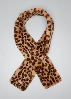 Leopard-Print Faux-Fur Pull-Through Scarf