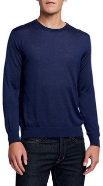 Solid Cotton Crewneck Sweater