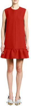 Crewneck Sleeveless Mini Flounce Dress