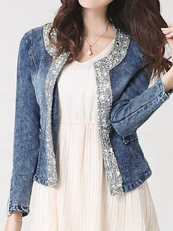Collarless Glitter Jackets online sale, shoping, jackets, womens fall jacket