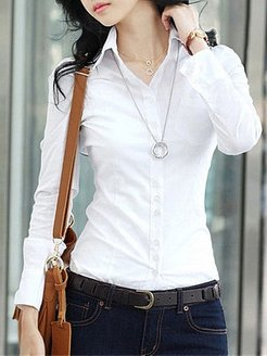 Fold Over Collar Single Breasted Plain Blouses online stores, shoping, shirts & tops, white top