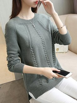 Round Neck Patchwork Elegant Plain Long Sleeve Knit Pullover shoping, stores and shops, cardigan, sweater hoodie