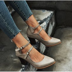 Plain Chunky High Heeled Date Travel Pumps shoping, online sale, Solid Pumps,