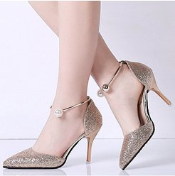 Stiletto High Heeled Ankle Strap Point Toe Date Event Pumps online sale, fashion store,