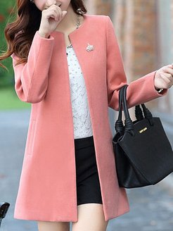 Collarless Solid Pocket Woolen Trench Coat shoping, fashion store,