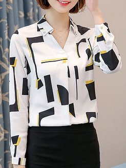 Autumn Spring Polyester Women Turn Down Collar Decorative Button Geometric Long Sleeve Blouses shoping, shoppers stop, summer tops for women, womens shirts