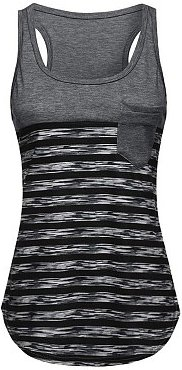 Round Neck Patch Pocket Racerback Striped Sleeveless T-Shirts online, online stores,