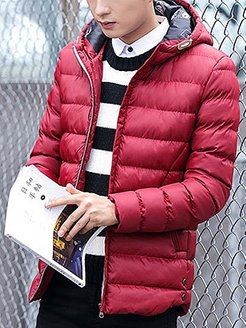 Solid Hooded Pocket Quilted Padded Coat shop, online shopping sites,