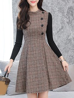 Round Neck Patchwork Single Breasted Plaid Skater Dress shoping, clothing stores, plaid Skater Dresses, fit and flare dress, skater dresses for juniors