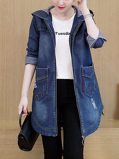 Distressed Hooded Flap Pocket Curved Hem Jacket online sale, online shopping sites, womens cape coat, jean jacket with fur