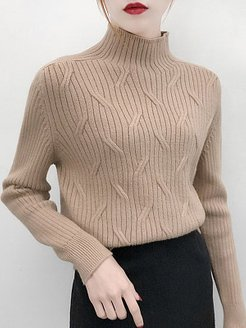 Short High Collar Elegant Plain Long Sleeve Knit Pullover shoping, shop, sweater hoodie, fall sweaters