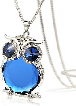 Blue Imitated Crystal Owl Shape Long Necklace online stores, online shop, Cartoon Necklaces,