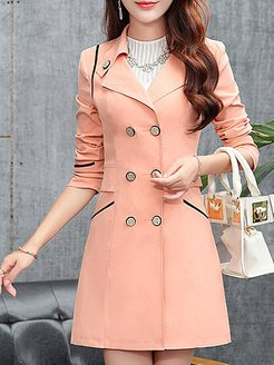 Notch Lapel Double Breasted Decorative Button Plain Long Sleeve Trench Coats sale, clothing stores,