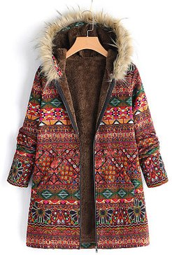 Hooded Fur Collar Abstract Print Coat shoppers stop, shoping, womens fall jacket, warmest winter jacket