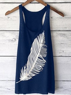 Round Neck Racerback Feather Sleeveless T-Shirts online stores, fashion store,