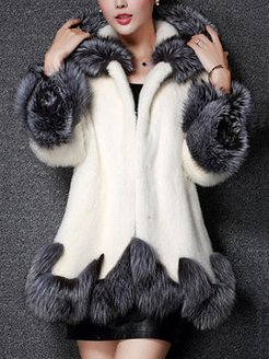 Hooded Color Block Faux Fur Coat shoping, stores and shops, Color Coats, bubble coat, fall jackets