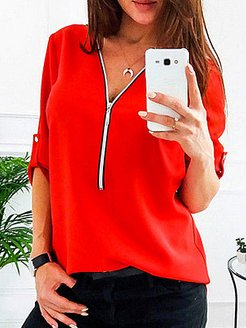 V Neck Chain Patchwork Plain Blouses clothing stores, online sale, silk blouse, tunic tops for women