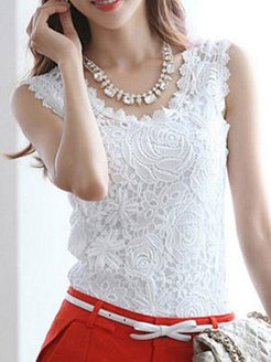 Spring Summer Cotton Women Round Neck Lace Sleeveless Blouses online sale, shoping, black blouse, peasant blouse