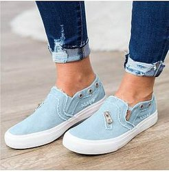 Light Wash Flat Round Toe Casual Sneakers clothes shopping near me, shoppers stop, Light Sneakers,