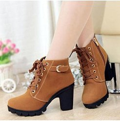 Plain Chunky High Heeled Velvet Round Toe Date Outdoor Short High Heels Boots clothes shopping near me, online shopping sites, Solid High Heels Boots,