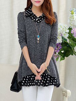 Turn Down Collar Patchwork Dot Blouses online shopping sites, online sale, red top, womens shirts