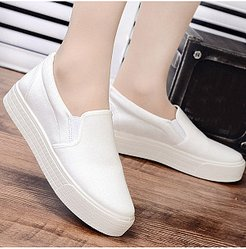 Plain Flat Round Toe Casual Sneakers shop, clothing stores,