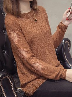 Round Neck Patchwork Elegant Plain Long Sleeve Knit Pullover clothing stores, online shopping sites, white cardigan, fall sweaters
