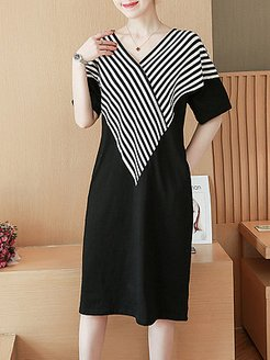 V Neck Patch Pocket Striped Shift Dress shoping, clothes shopping near me, short sleeve shift dress, sheath dress
