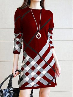 Round Neck Printed Shift Dress online, shoping, printing Shift Dresses, shirt dress, below the knee dresses