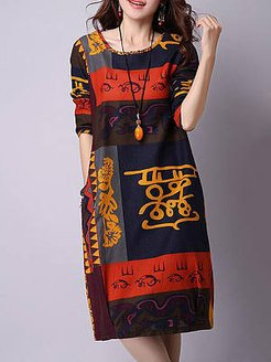 Round Neck Color Block Totem Printed Shift Dress online shopping sites, shoping, black long sleeve shift dress, halter dress