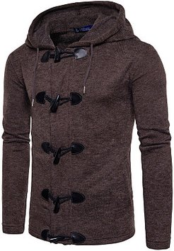 Hooded Single Breasted Plain Men Coat shoping, fashion store,