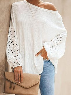 Round Neck Patchwork Elegant Embroidery Puff Sleeve Long Sleeve Knit Pullover online sale, online, cardigan sweaters for women, fall sweaters