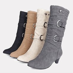 Plain Mid Heeled Velvet Round Toe Casual Outdoor Knee High High Heels Boots shoping, shop, Solid High Heels Boots,