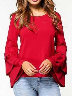 Autumn Spring Polyester Women Round Neck Flounce Plain Long Sleeve Blouses clothing stores, online sale,