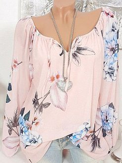 Autumn Spring Polyester Women Tie Collar Floral Printed Long Sleeve Blouses online shopping sites, sale, blouses for women, white shirt womens