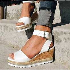 Plain Peep Toe Casual Date Wedge Sandals online shopping sites, sale,