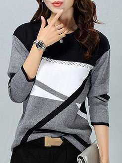 Round Neck Patchwork Color Block Knit Pullover shoping, shoppers stop, cropped sweater, cable knit sweater
