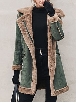 Fold Over Collar Zipper Plain Coat stores and shops, online stores, womens cape coat, military jacket women