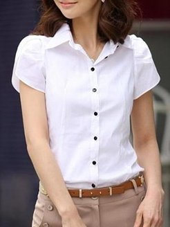 Button Down Collar Single Breasted Plain Blouses online, online sale, Solid Blouses, cute tops, summer tops for women