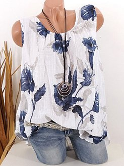 Round Neck Floral Print Sleeveless T-shirt online shopping sites, clothes shopping near me, printing Sleeveless T-shirts,