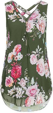 V Neck Floral Zips Sleeveless Blouse clothes shopping near me, shoping, button up shirts for women, blouses for women