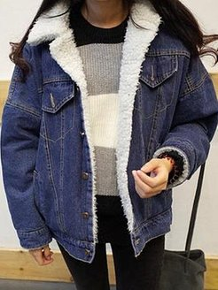 Autumn And Winter Thick Lamb Wool Denim Jacket clothes shopping near me, fashion store, trench coat women, womens black winter coat