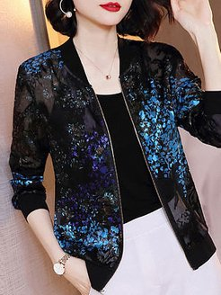Long Sleeve Printed Sunscreen Jacket clothing stores, fashion store, long jackets for women, olive green jacket women's
