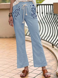 Fashion lace-up printed trousers online shopping sites, online stores,