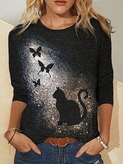 Black Cat And Butterfly Print Casual T-shirt For Women shoping, sale, printing Long sleeve T-shirts,