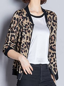 Sun protection clothing women autumn short coat simulation silk leopard print baseball uniform cardigan jacket shop, online sale, fur hood coat womens, coats & jackets