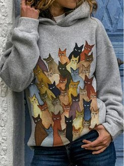 Fashion cartoon cute cat print casual hooded sweater online shopping sites, shoping, printing Sweatshirts, black hoodie womens, sweatshirts for women