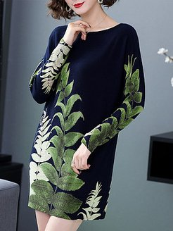 Printed Round Neck Dress online shopping sites, shoping, black long sleeve shift dress, long white dress
